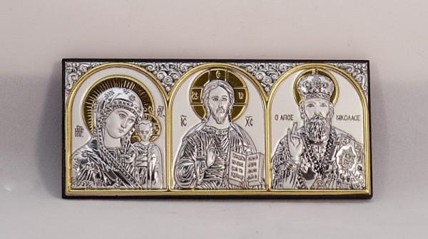 Икона Казанская Богородица, Спаситель, Святой Николай