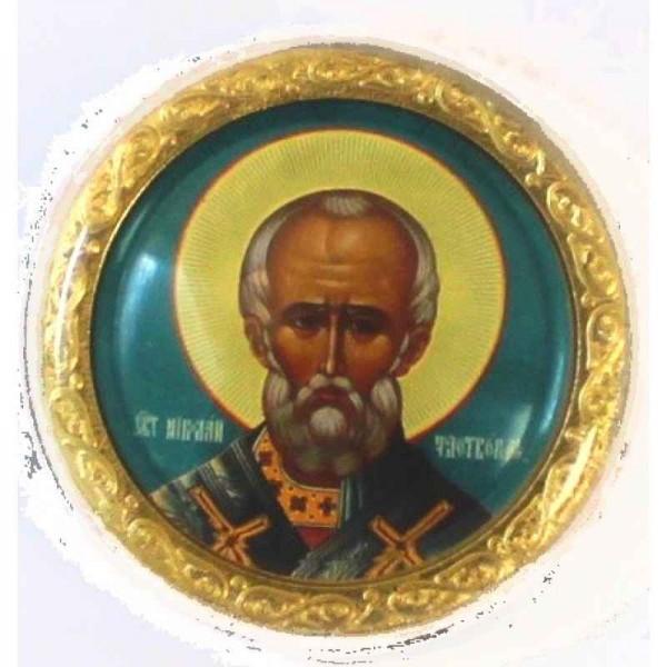 Икона автомобильная круглая Николай Чудотворец