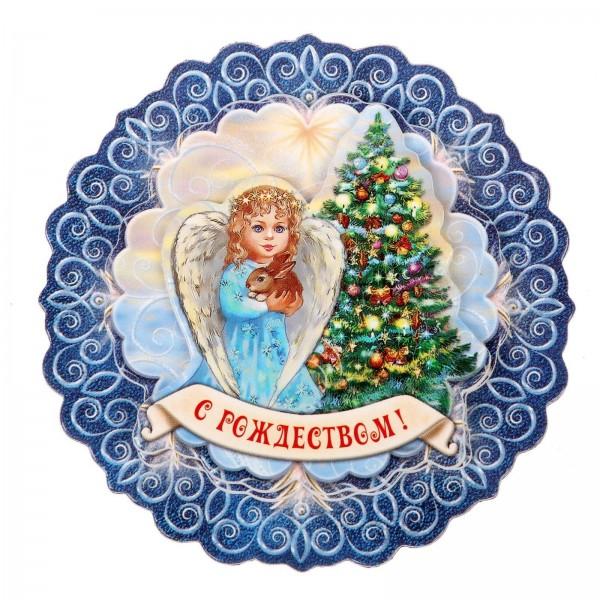 """Магнит многослойный """"С Рождеством! Ангел у елочки"""""""