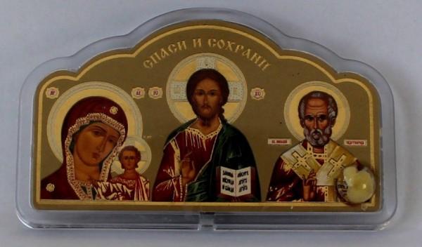 Икона автомобильная (Казанская Божья Матерь, Спаситель, Николай Чудотворец) с ладаном