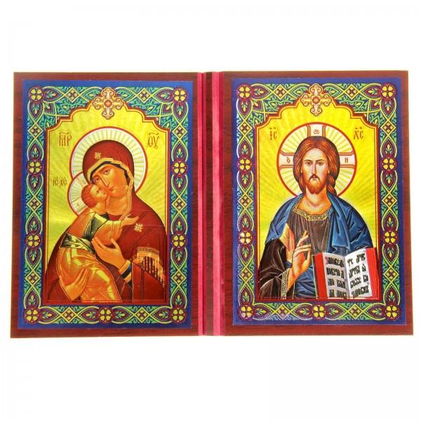 Складень Владимирская Икона Божией Матери - Господь Вседержитель