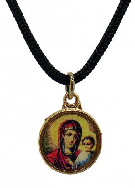 Двусторонний кулон с ликом Пресвятой Богородицы (нательная икона, образок)