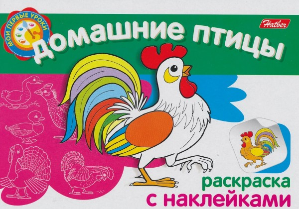 Раскраска с наклейками. Домашние птицы