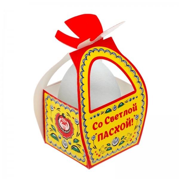 """Коробочка подарочная для яйца """"Со Светлой Пасхой. Городецкая роспись"""""""