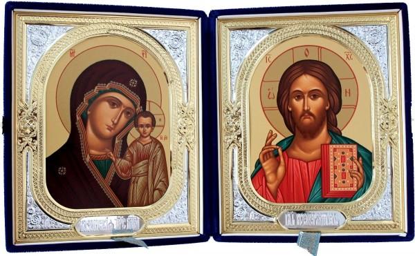 Складень в футляре Спаситель-Казанская Божья Матерь