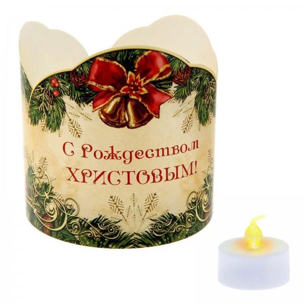 """Подсвечник """"Рождественская композиция"""" со светодиодной свечой"""