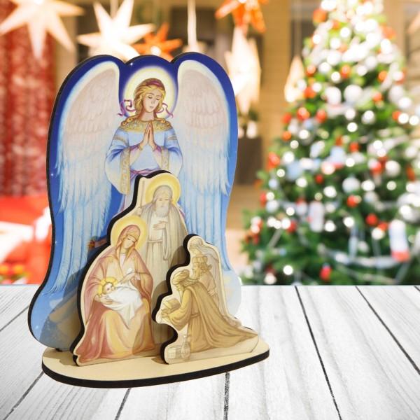 """Рождественский сувенир - сборная модель """"Вертеп с ангелом"""""""