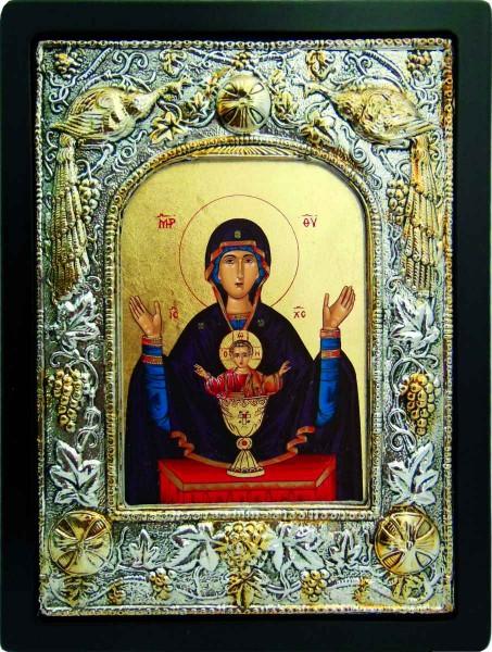 Неупиваемая чаша, икона Божией Матери в серебряном окладе.