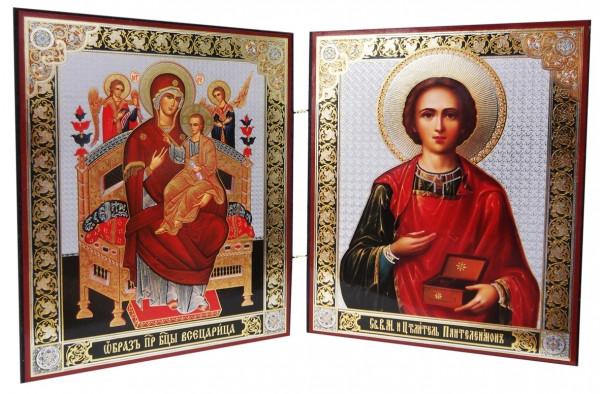Икона Божией Матери Всецарица и Пантелеимона