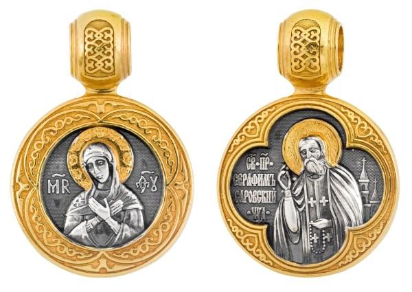 Икона Божией Матери Умиление и Серафима Саровского, нательная